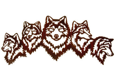 Chiny Vivid Five Wolves Contemporary Metal Wall Sculptures Popularny design fabryka